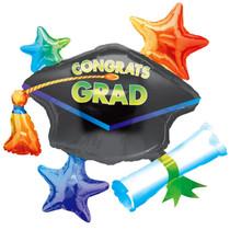 """Congrats Grad Cluster Graduation 31"""" Super Shape Foil Balloon Party Decoration"""