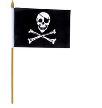 Pirate Flags Skull & Crossbones Black Lot of 12 Wooden Handle