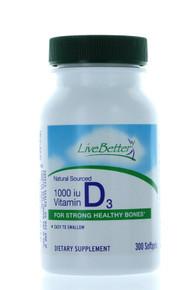 Vitamin D3 1000IU Supplement 300 Softgels Cholecalciferol Healthy Bones Nutrient