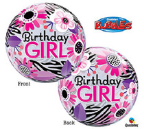 """Birthday Girl Clear Balloon Pink Floral Zebra Plastic Bubble 22"""""""
