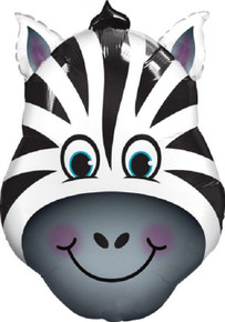 Zebra Head Balloon Mylar Foil Zoo Animal Decoration XL 32""
