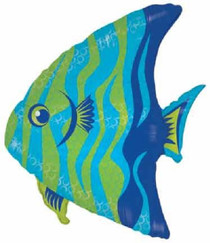 "XL 28"" Blue Hawaiian Angel Fish Super Shape Mylar Foil Balloon"