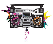 """XL 35"""" I Love The 80s Boombox Super Shape Mylar Foil Balloon Party"""