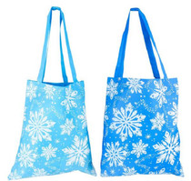 Blue Snowflake Tote Bags Frozen Winter Large Lot of 12
