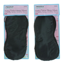 Lot of 2 Black Swissco Satin/Valor Sleep Mask Resting Meditating Napping