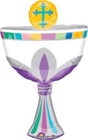 "XL 31"" Communion Cup Religious Chalice Shape Mylar Foil Balloon Party Decoration"