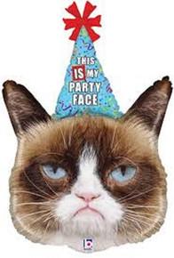 "XL 36"" Grumpy Cat Super Shape Mylar Foil Balloon Party Decoration"