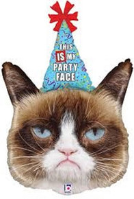 "XL 36"" Grumpy Cat Super Shape Mylar Foil Balloon Party Decoration"