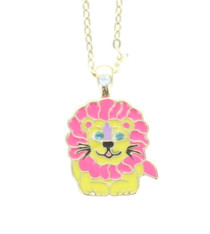 Lion Crystal Necklace With Velour Hinged Gift Box