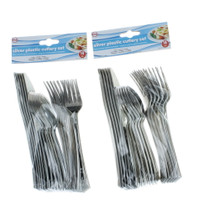 36 Piece Evri Plastic Silver Cutlery Set Disposable Partyware