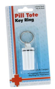 Waterproof Keychain Pill Holder Key Ring Tote Travel Container Medication Bottle