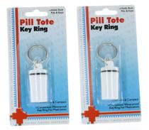 Lot of 2 Waterproof Keychain Pill Holders Key Ring Tote Travel Medication Bottle
