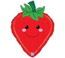 """26"""" Produce Pals Strawberry Betallic XL Mylar Foil Balloon"""