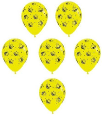"11"" Qualatex Yellow Bumble Bee Print Latex Balloons - 12 Pack"