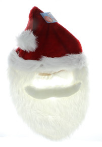 Santa Mask With Beard Christmas Holiday Dress Up Saint Nick X-Mas Costume Outfit
