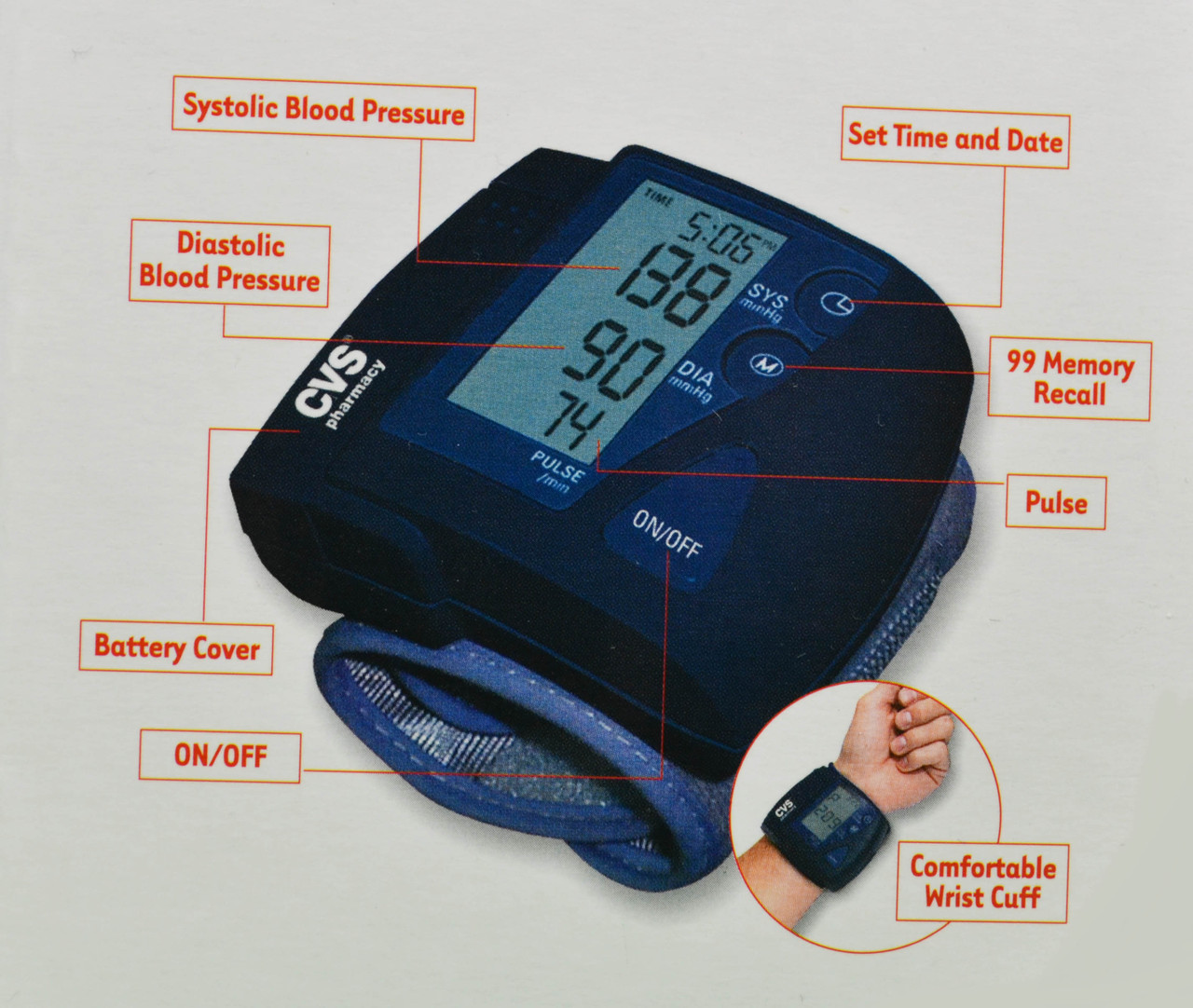 CVS Pharmacy Blood Pressure Monitor Digital Wrist Cuff Pulse
