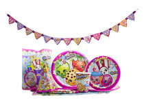 Shopkins 130 pc Party Pack 16 Plates Napkins Cups Hat Loot Bags Serves 16
