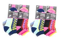 12 Pairs Low Cut Women's Sneaker Socks Sole Trends Size 9-11