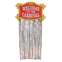 Welcome To The Carnival Door Curtain Foil Fringe Circus Entrance Decoration