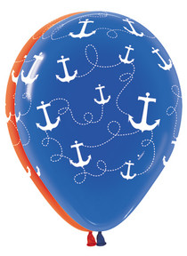 "11"" Qualatex Nautical Anchor Print Latex Balloons - 12 Pack"