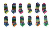 12 Pairs Ladies Multi-color Stripe Low Cut Size 9-11 Womens No Show EBAH-653
