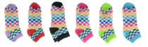 12 Pairs Ladies Multi-color Bright Checkered Women's Low Cut Socks 9-11 No Show