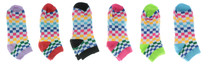 Womens Low Cut Checkered Socks Multi-color 6 Pairs Everbright Size 9-11
