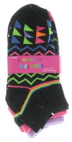 12 Pairs Kids Zig Zag Pattern Low Cut Socks Sz 6-8 Boys Girls No Show EKA-6112