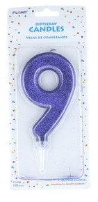 "Large Glitter Number #9 Happy Birthday Candle Cake Topper 5"" Decoration"