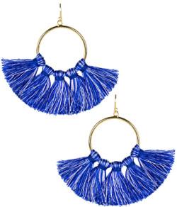 Izzy Gameday Earrings - Multicolor Navy & Light Blue