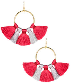 Izzy Gameday Earrings - Red & Silver
