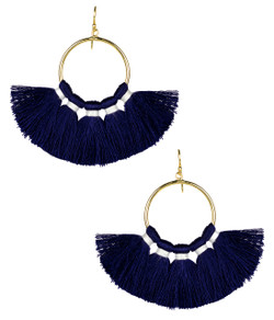 Izzy Gameday Earrings - Navy with White Trim