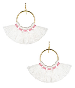 Izzy Gameday Earrings - White with Pink Trim