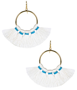 Izzy Gameday Earrings - White with Turquoise Trim