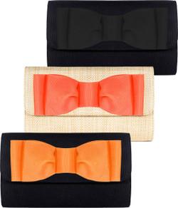 Avery Clutch - Black & Orange