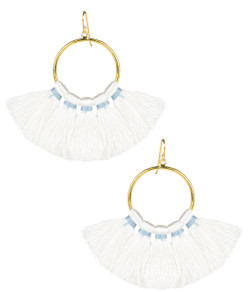 Izzy Gameday Earrings - White with Light Blue Trim