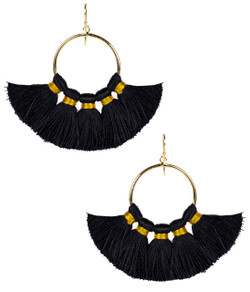 Izzy Gameday Earrings - Black with Gold Trim