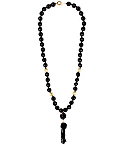 Beaded Tassel Necklace - Black