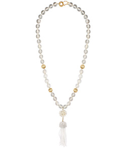 Beaded Tassel Necklace - Clear
