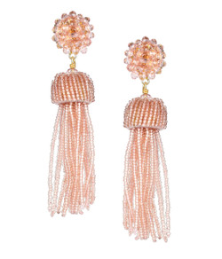Tassel Earrings - Czech Pink