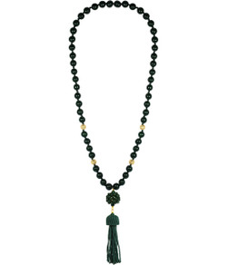 Beaded Tassel Necklace - Hunter Green