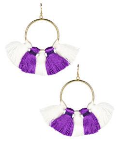 Izzy Gameday Earrings - White & Grape