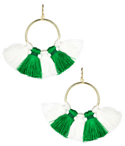 Izzy Gameday Earrings - White & Emerald - Pre-sale