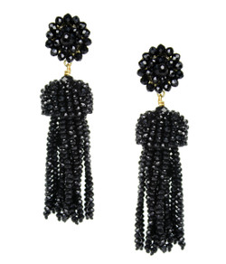 Tassel Earrings - Czech Black