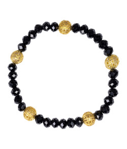 Riley Bracelet - Czech Black & Gold