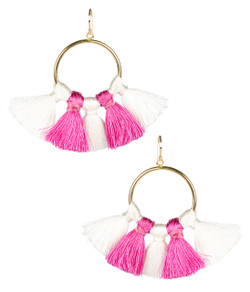 Izzy Gameday Earrings - White & Pink