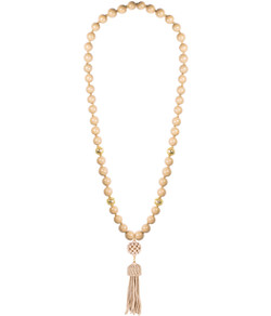 Beaded Tassel Necklace - Latte