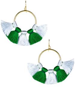 Izzy Gameday Earrings - Carolina Blue & Emerald