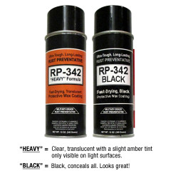 Same Cosmoline RP-342 Protection - Different Coating Appearances - Clear Amber & Black Concealer