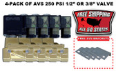 "4-PACK OF AVS 250 PSI 1/2"" OR 3/8"" VALVE WITH MOUNTING BRACKETS & FREE SHIPPING"
